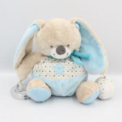 Doudou lapin bleu blanc étoiles hochet balle MOTS D'ENFANTS