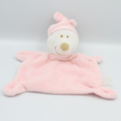 Doudou ours plat rose blanc...