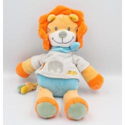 Doudou lion orange bleu gris TEX
