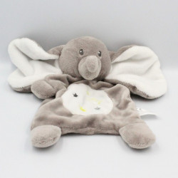 Doudou plat éléphant gris blanc étoiles NICOTOY