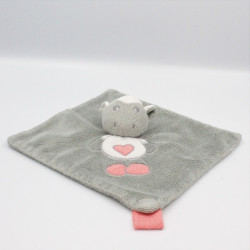 Doudou plat mouton gris blanc rose coeur CARTOON CLUB