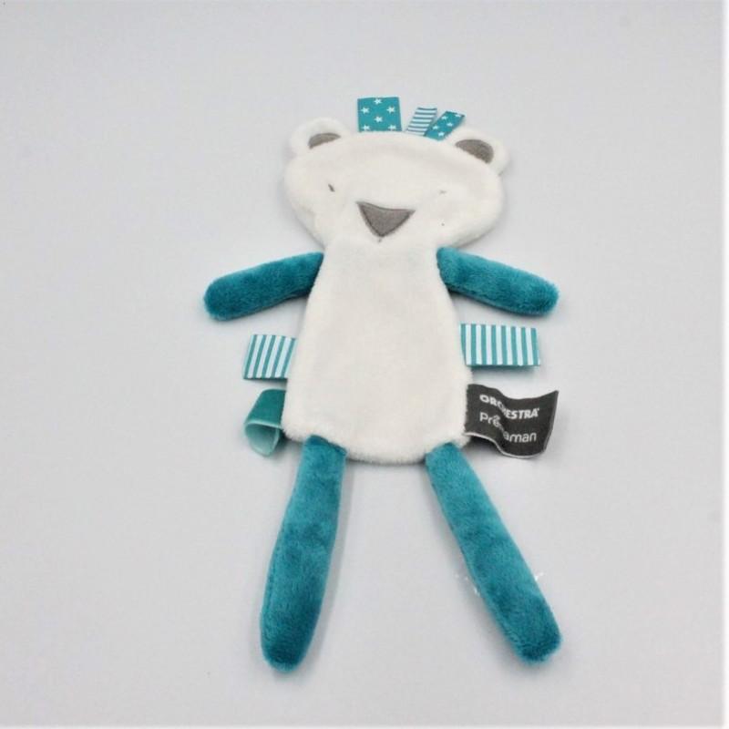 Doudou plat ours blanc bleu ORCHESTRA PREMAMAN
