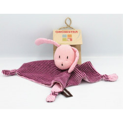 Doudou plat chien lapin rose rayé vichy ORCHESTRA