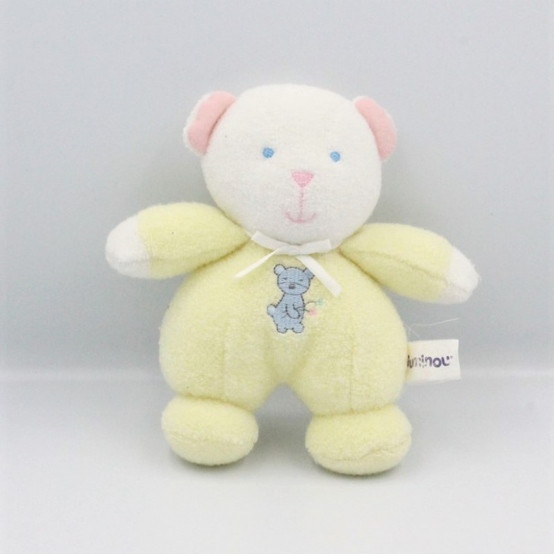 Doudou ours blanc jaune LUMINOU