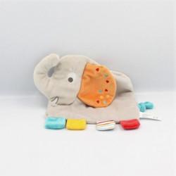 Doudou plat éléphant gris orange jaune bleu KIABI SIMBA TOYS