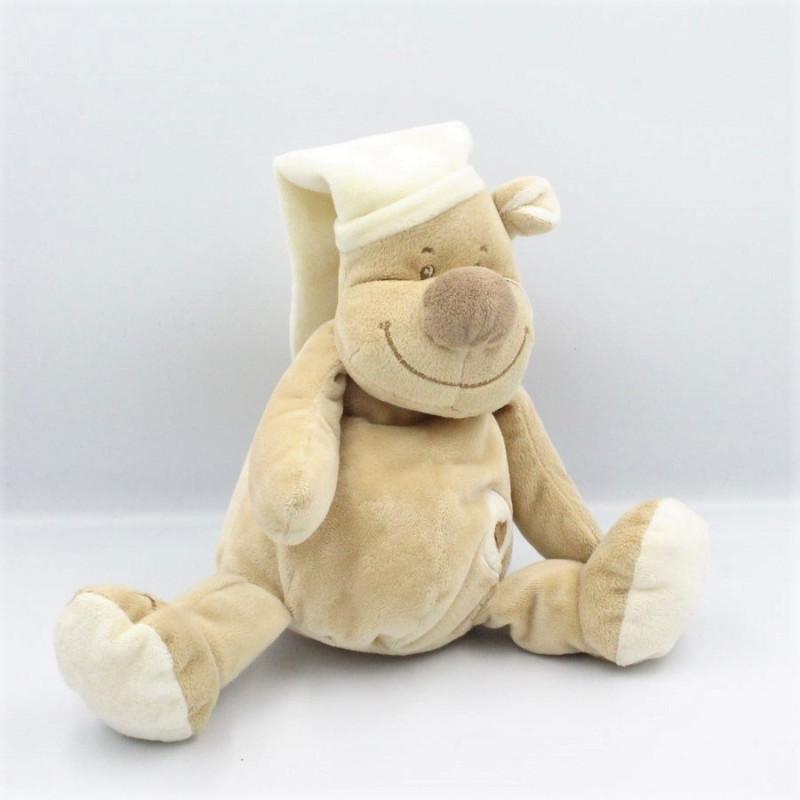 Doudou ours beige écru bonnet coeur DOUKIDOU