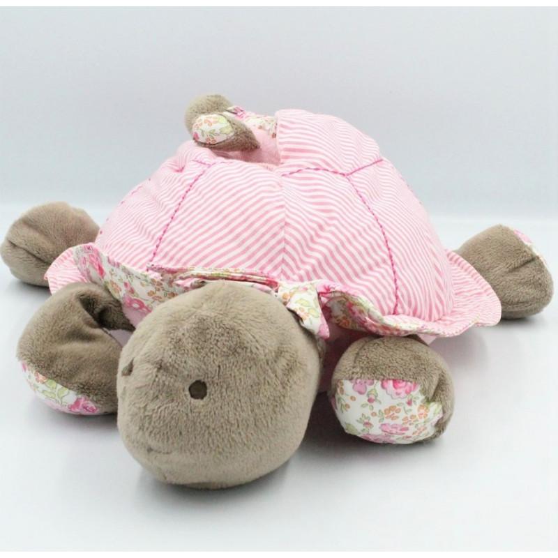 Doudou tortue rose marron fleurs avec bébé JACADI