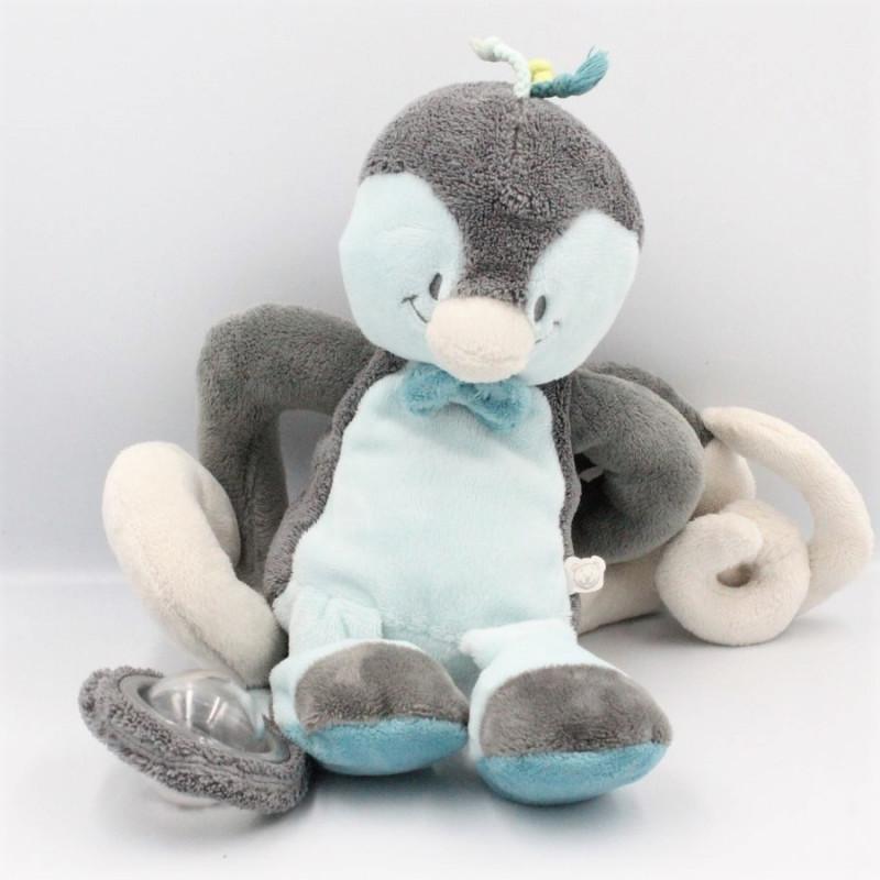 Doudou oiseau pingouin gris bleu Louis hochet NOUKIE'S
