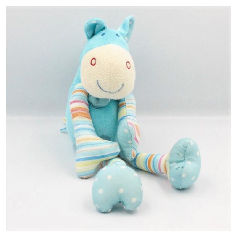 Doudou cheval zébre bleu rayé pois MAXITA