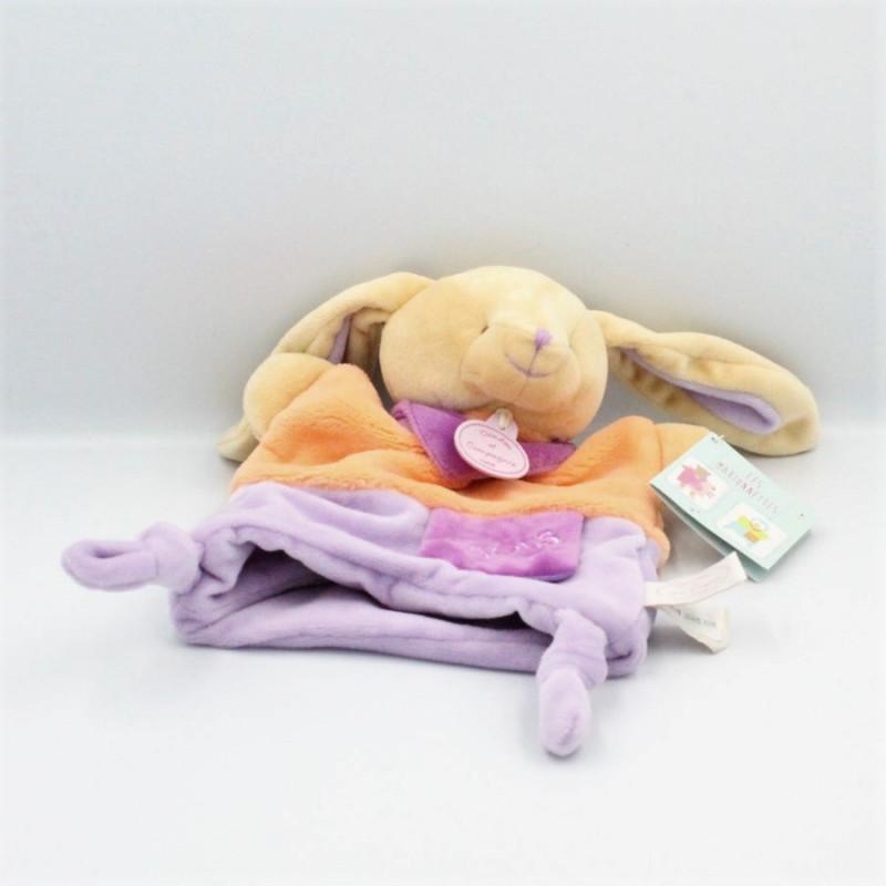 Doudou et Compagnie plat marionnette lapin orange mauve Bisous