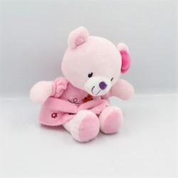 Doudou ours rose oiseau fleurs POMMETTE