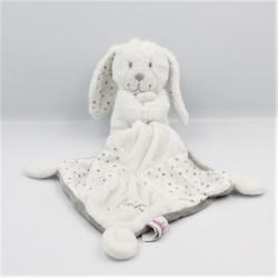 Doudou lapin blanc gris pois mouchoir POMMETTE