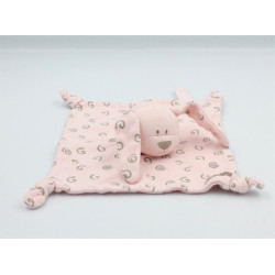 Doudou plat chien lapin rose spirales ORCHESTRA