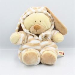 Doudou ours déguisé en lapin beige écru blanc rayé NICOTOY