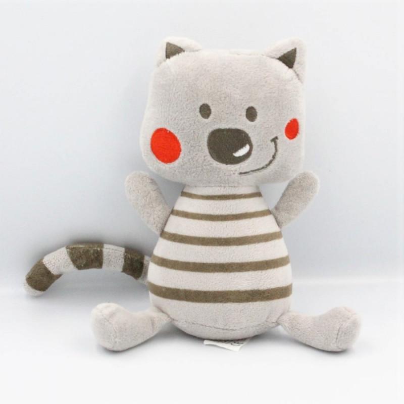 Doudou chat gris rouge rayé ORCHESTRA