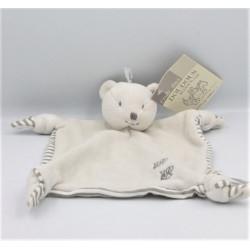 Doudou plat ours gris blanc rayé DPAM