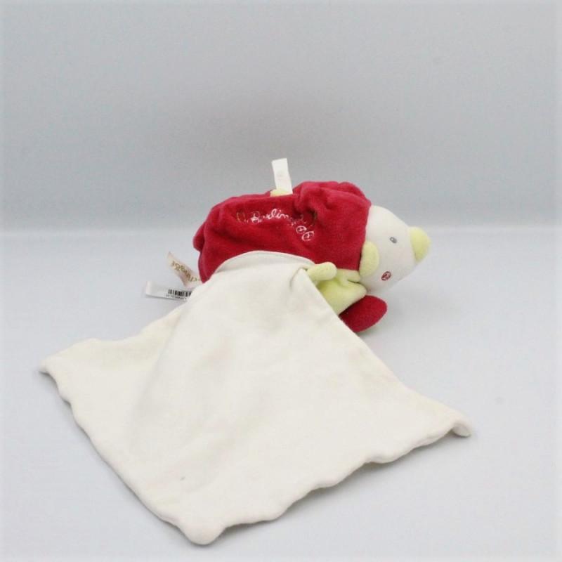 Doudou hérisson rouge vert blanc mouchoir BERLINGOT