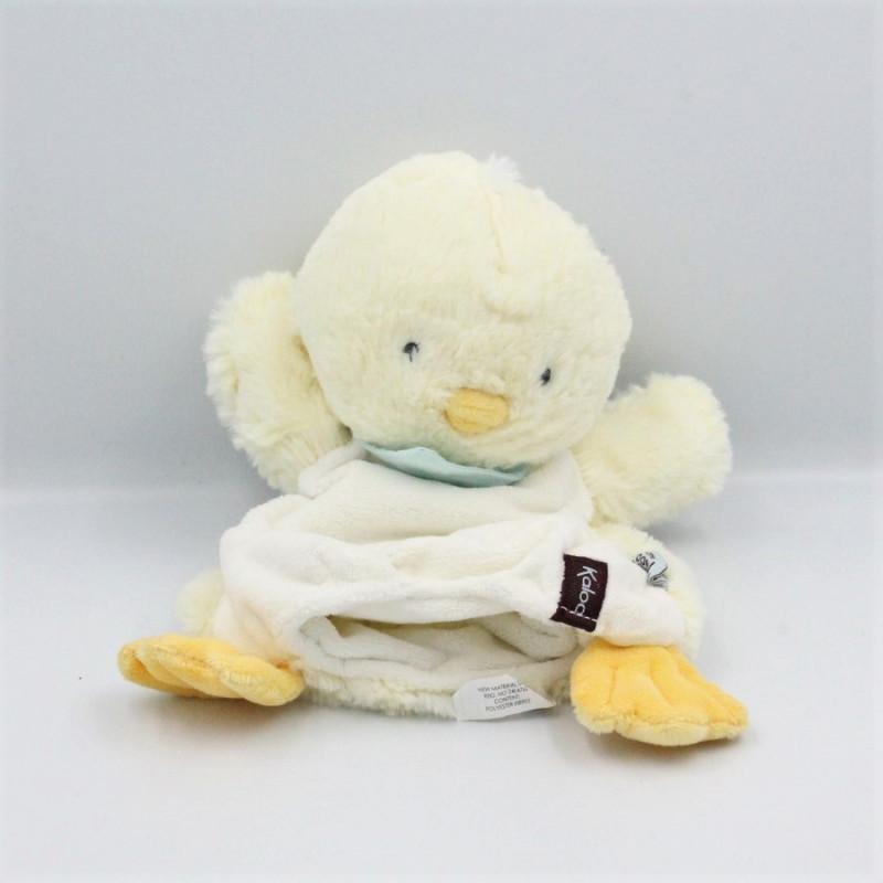 Doudou plat marionnette poussin canard jaune blanc KALOO