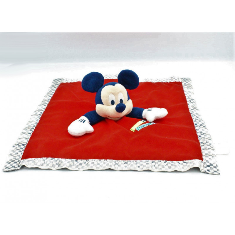 Doudou plat Mickey bleu rouge satin DISNEY