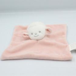 Doudou plat mouton blanc rose BRIOCHE