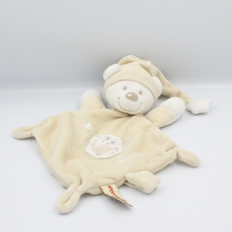 Doudou plat ours blanc écru oiseau étoile NICOTOY