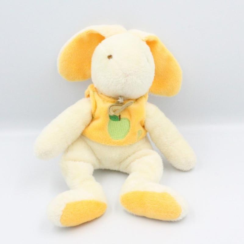 Doudou lapin blanc jaune pomme P BABY NAT