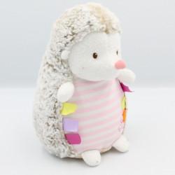 Doudou hérisson beige blanc rose Luminou JEMINI