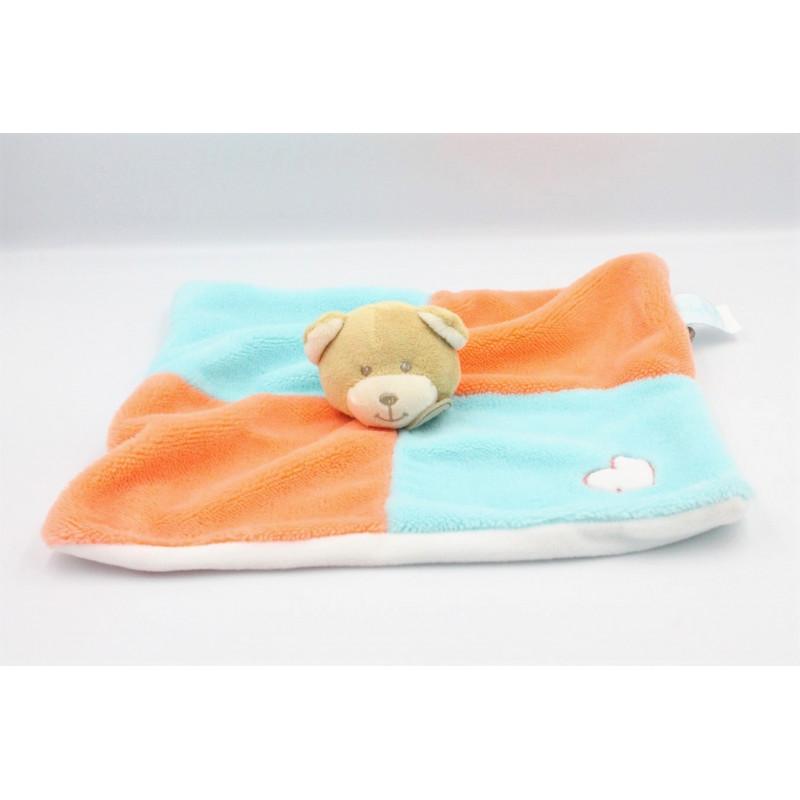 Doudou plat ours bleu orange coeur BABY NAT