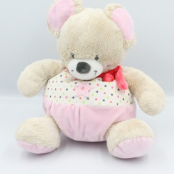 Doudou souris beige rose étoiles MOTS D'ENFANTS