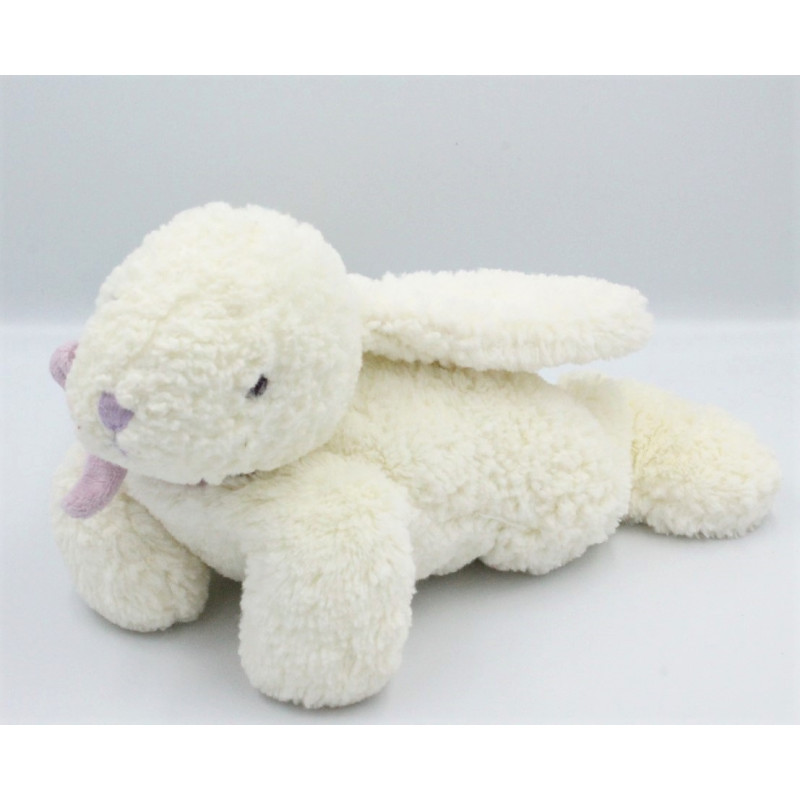 Doudou lapin blanc mauve JACADI