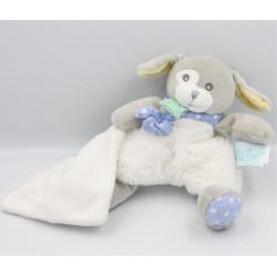 Doudou chien gris blanc bleu jaune mouchoir BABY NAT