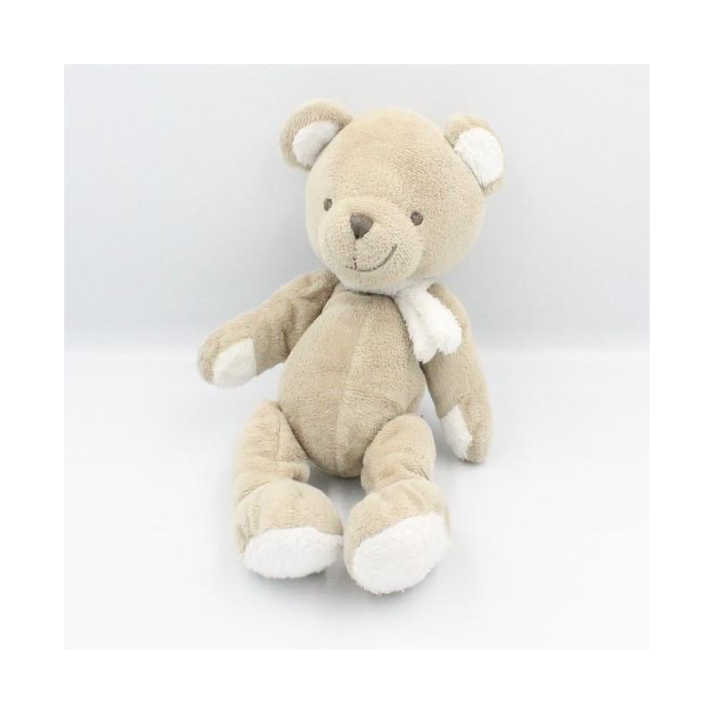 Doudou ours Beige gris blanc écharpe NICOTOY