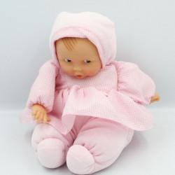 Doudou bébé poupée Baby Pouce robe vichy rose COROLLE 2001