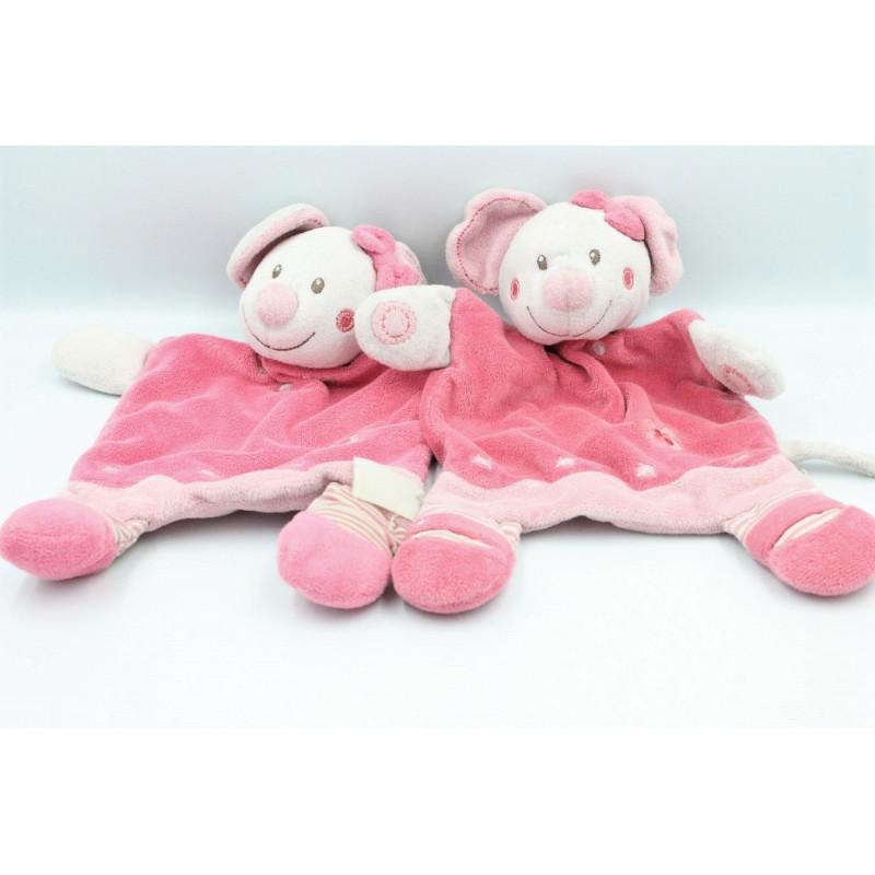 Doudou plat Mimi la souris rose fleurs NICOTOY KIABI lot de 2