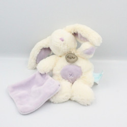 Doudou lapin blanc mauve mouchoir BABY NAT