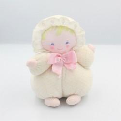Ancien doudou poupée chiffon blanc rose pois COROLLE