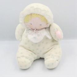 Ancien doudou poupée chiffon blanc bleu vert fleurs COROLLE