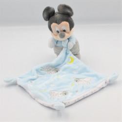 Doudou bébé Mickey bleu gris mouchoir moutons DISNEY BABY