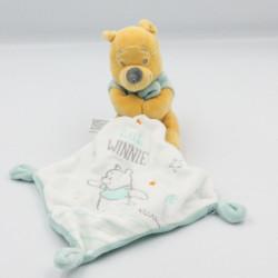 Doudou Winnie l'ourson bleu blanc mouchoir Little Winnie DISNEY