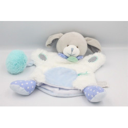 Doudou et compagnie marionnette chien gris blanc bleu Pistache