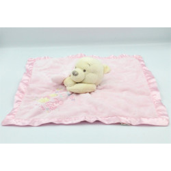 Doudou plat couverture rose satin Winnie l'ourson I love you DISNEY