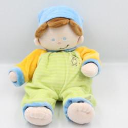 Doudou poupée lutin pyjama vert bleu jaune rayé MAXITA