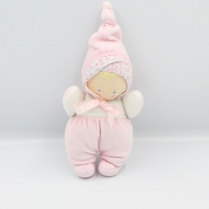 Doudou poupée poupon bébé rose blanc fleurs COROLLE 1997