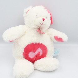 Doudou musical ours Calins blanc rose BABY NAT
