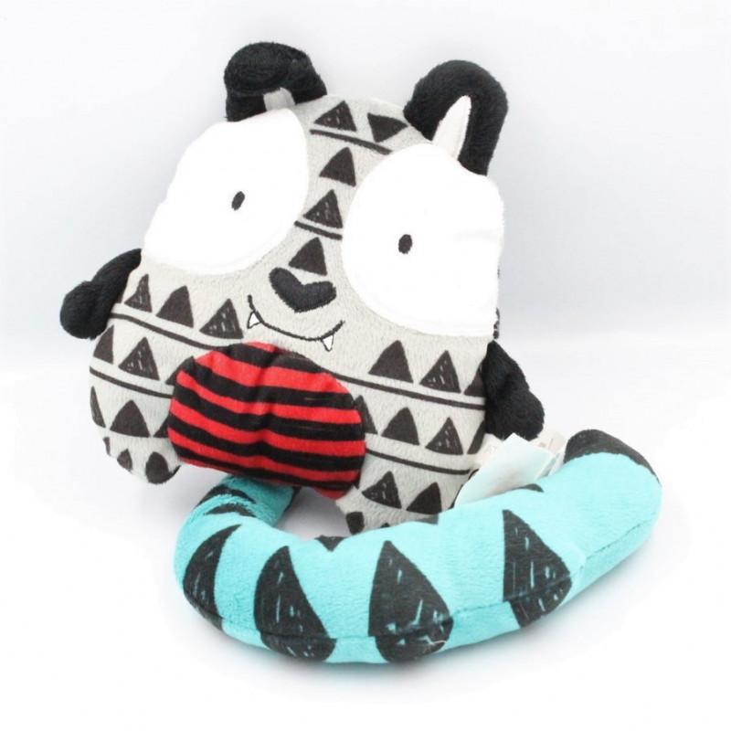 Doudou chat tigre gris rouge bleu KIMBALOO