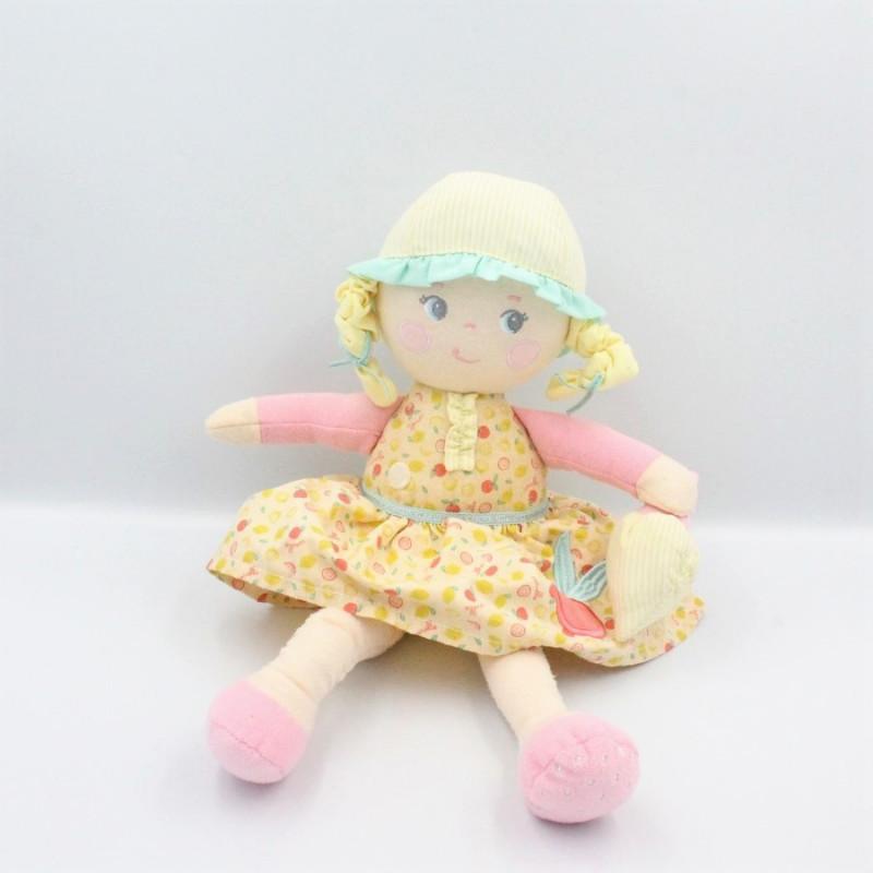 Doudou poupée chiffon Zest d'amour Fruit jaune vert rose COROLLE
