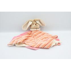 Doudou plat lapin beige blanc rose rayé orange BUKOWSKI