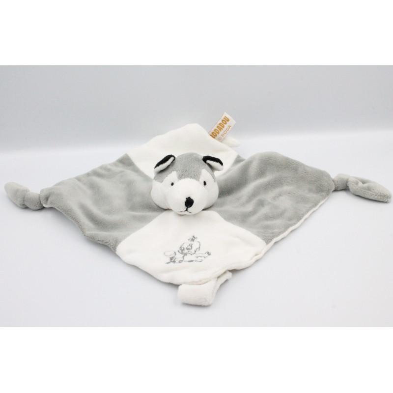 Doudou plat chien loup gris blanc RODADOU RODA