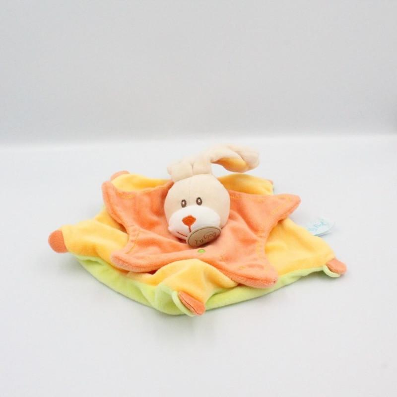 Doudou plat étoile lapin orange jaune vert BABY NAT