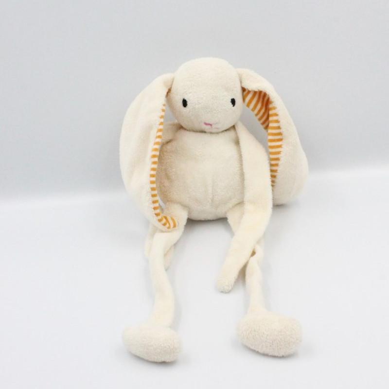 Doudou lapin blanc orange rayé NATURE PLANET